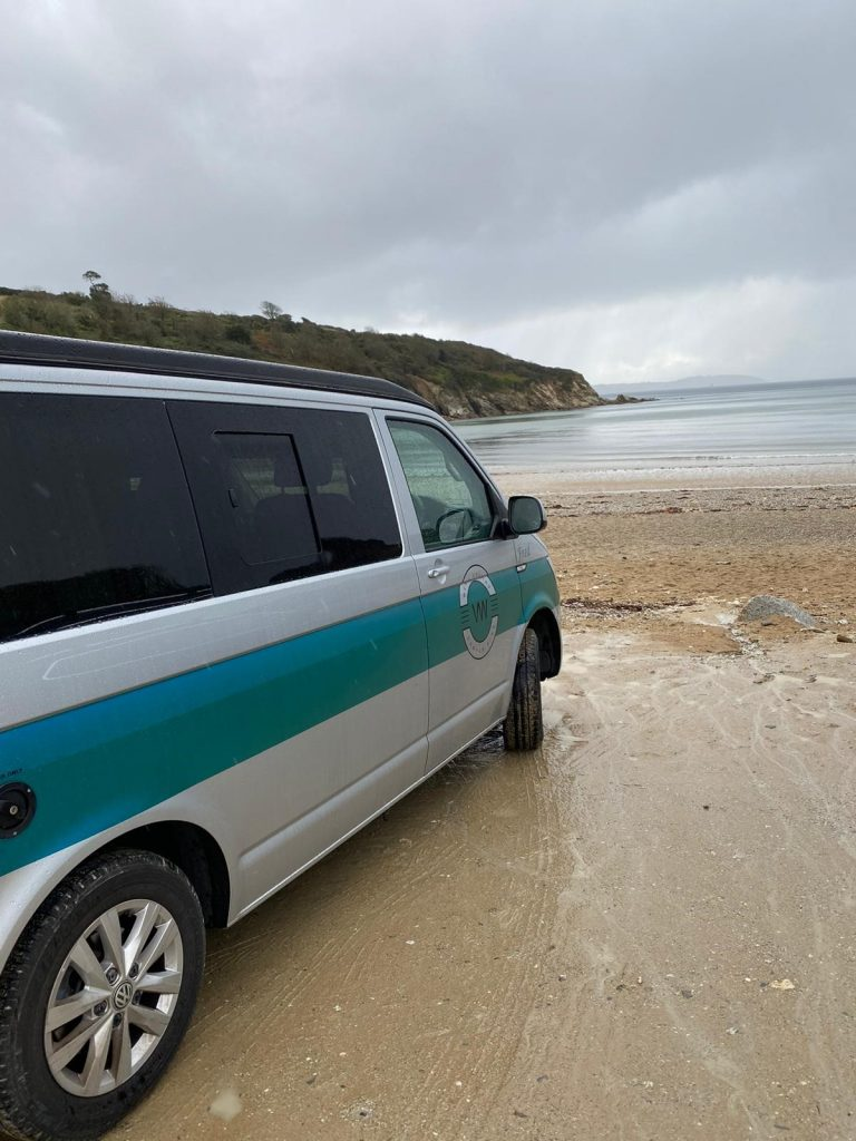 West Country VW Camper Hire campervan on beach